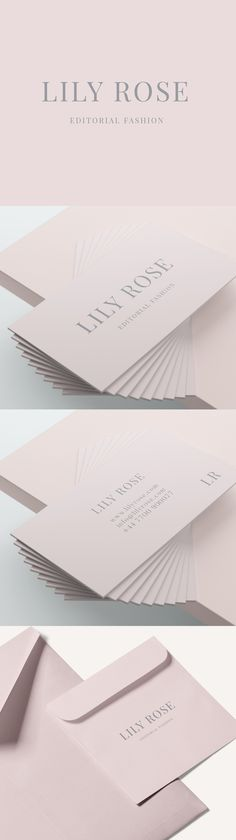 LILY ROSE: An elegant, luxurious design template. Light baby pink and grey text. Perfect for beauticians, boutiques, interior designers and more | River and Tree | Creative Design Studio | www.riverandtree.etsy.com #logo #design #branding #pink #grey