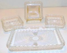 Vintage Clear Glass Serving Dish with 3 Small Square Condiment Dishes
