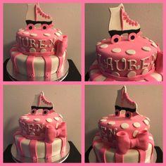 Roller skate themed birthday cake! #cake #buttercream #frosting #fondant #tiers #gumpaste birthday #rollerskating #party #polkadots #stripes #flowers #instacake #cakeartist #cakedecorating #cakeart #thebakerman #cakesandthings
