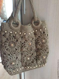 Женские сумки ручной работы. Ярмарка Мастеров - ручная работа. Купить Джутовая сумка, вязаная из мотивов. Handmade. Бежевый, для девушки