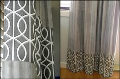 how to customize and lengthen too short curtains. This is a great way to get a custom look utilizing clearance-section curtains.