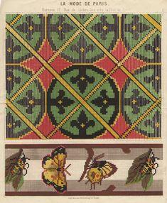 Pattern from 'Journal des desmoiselles' 1865-1869 Lith. La Vapeur de Dupuy. Looks like Berlin Woolwork. Berlin, French Pattern, Bargello, Loom Beading, Needlepoint, Embroidery Patterns, Bohemian Rug, Needlework, Cross Stitch