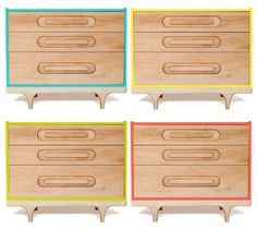 the 'caravan' dresser features modern lines, playful details, and is available in six bright contemporary colors