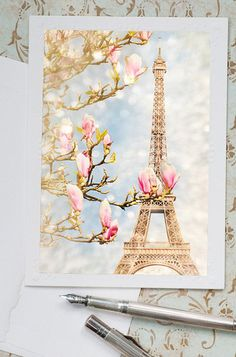 """The Tour Eiffel is genuinely a sign of Paris. It is the most identifiable feature of the city and, in reality, the world. Found in the arrondissement, the Eiffel Tower was a marvel of """"contemporary"""" engineering. Tour Eiffel, Eiffel Tower Drawing, Eiffel Tower Painting, I Love Paris, Pink Paris, Paris Photos, Mademoiselle, Magnolias, Note Cards"""