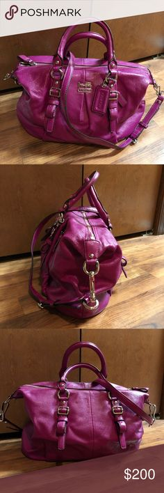 Madison Leather Magenta Juliette Very VERY Good Condition - a few faint signs of wear (see phot collage) near bottom of bag.  Handles are a bit wonky from storage but nothing structurally wrong with them.  Beautiful Pink/Berry Color with Silver Hardware.  Front of bag has hidden pocket, perfect for keys or work badge.  Longer detachable strap is adjustable & could be worn crossbody.  VERY Similar to Sabrina, Audrey, Ashley - other popular Coach styles.  Inside lining is spotless Coach Bags