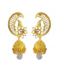 Designer Jadau Classic Polki Work Copper Drop Earring12