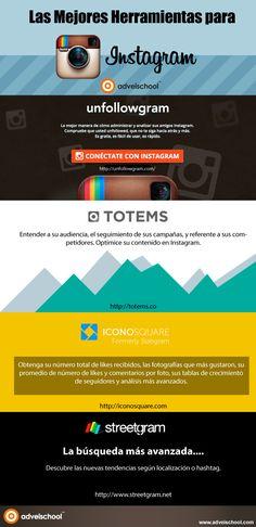 Mejores herramientas para Instagram. Infografía en español. #CommunityManager