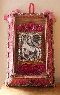 Virgin Mater and deceased Jesus from Azores (20 x 12, 5): acrylic, cotton, silver, paper, silk