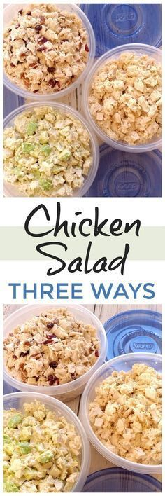 Chicken Salad 3 Ways! Make all three: Cranberry Pecan, Classic and Avocado Ranch Chicken Salad all from one batch of chicken. Perfect for game day and picnics!