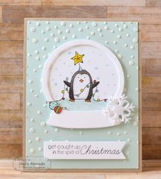 Get Caught Up...Card by Shelly Mercado #Cardmaking, #Christmas, #Critters, #EmbossingFolders, #TE, #ShareJoy
