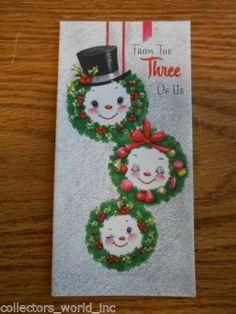 Three-of-Us-Anthropomorphic-Snowman-Mid-Century-Vintage-used-Christmas-Card