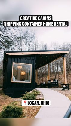 Shipping Container Home Designs, Container House Design, Container Houses, Shipping Containers, Shed Homes, Cabin Homes, Tiny Homes, Black Shed, Tiny House Community