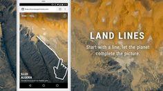 """explorer les images satellites Google Earth par le geste. """"Draw"""" pour trouver des images satellites qui correspondent à votre ligne; """"Drag"""" pour créer une ligne infinie de rivières, autoroutes et côtes reliés."""