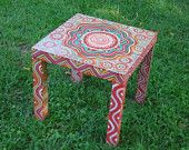Hand-painted Faux Wood Side Table...FUN AND FUNCTIONAL