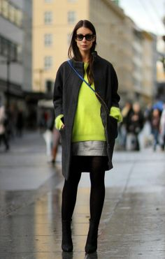 Get the look: Neon yellow, silver and mohair