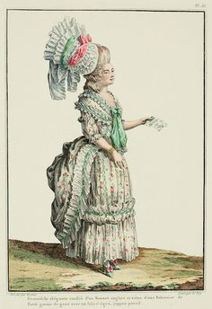 Galerie des Modes, 15e Cahier, 5e Figure  Elegant young lady coiffed in an English Cap and dressed in a pouf Polonaise trimmed with gauze with a streaked ribbon; matching petticoat. (1778)