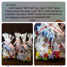 Basketball Camp Thank You Bags: Jolly Ranchers, water, peanuts, mints