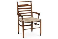 Ladder-Back Country Armchair, Dark Oak
