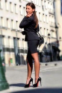 my wife has a cute black skirt like this one . knee length , she wears nude…