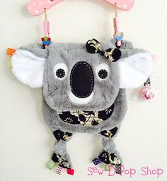 Koala Bear Baby Tag Security Blanket Lovey Pacifier by SewDPopShop