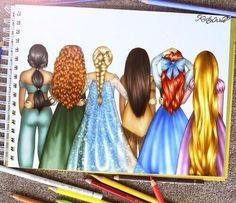 Disney princesses drawings by Kristina Webb Disney Magic, Art Disney, Disney Kunst, Disney Girls, Disney Love, Disney Style, Disney E Dreamworks, Disney Pixar, Disney Characters