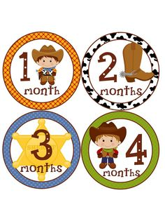 Monthly Onesie StickersCowboysWesternPerfect gift by BuddhaBellies, $9.00