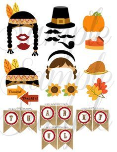 INSTANT DOWNLOAD THANKSGIVING - Photo booth Props . Make it easy and just print them up from you own printer.
