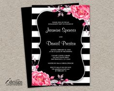 Floral Black And White Stripe Engagement Party Invitation With Pink Watercolor Peonies. www.idesignstationery.com