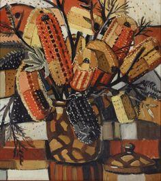 The brown pot, by Margaret Preston (Australian Art) Australian Wildflowers, Australian Native Flowers, Henri De Toulouse Lautrec, Australian Painting, Australian Artists, Gustav Klimt, Margaret Preston, Margaret Rose, Kunst Der Aborigines
