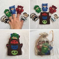 A personal favorite from my Etsy shop https://www.etsy.com/listing/269189583/pj-masks-inspired-felt-finger-puppet-set
