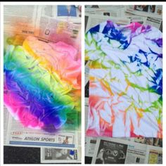 Reverse Tie Dye aus dem Tie Dye Spray Tutorial - So einfach! - Tie Dye all the things! Fête Tie Dye, Tie Dye Party, How To Tie Dye, How To Dye Fabric, Diy Tie Dye Projects, Tie Dye Crafts, Diy Crafts, Reverse Tie Dye, Shibori
