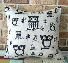Pillow Cover Black Owls on Burlap Linen