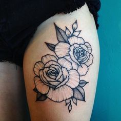 Just did some fun roses on Tamara for her first tattoo #bujutattoo #megbuju #dotwork #rosetattoo #blackworkerssubmission
