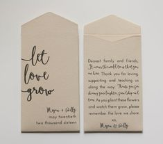 Let Love Grow Personalized Seed Packet Wedding Favors