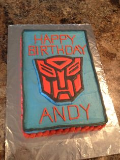 Transformers Autobot cake that we made for my son's 4th birthday