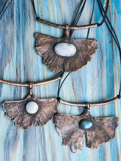 Ginkgo copper leaf pendant - Bohemian real leaf jewelry by MoonDome