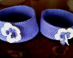 Custom Made Hand Knitted Baskets / Totes