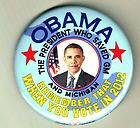 2012 BARACK OBAMA PIN, THE PRESIDENT SAVED GM PINBACK BUTTON