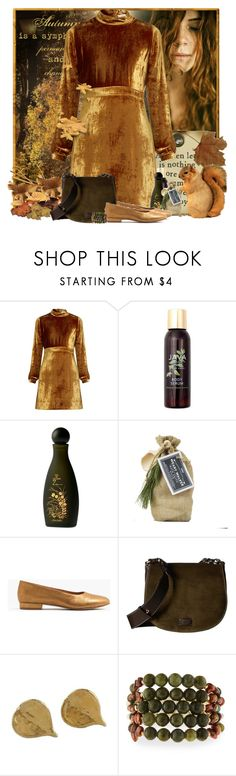 """Gold Leaves"" by pusja76 ❤ liked on Polyvore featuring A.L.C., Java, Shiseido, Madewell, Frances Valentine, NOVICA, NAKAMOL and velvet"