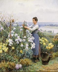 Daniel Ridgway Knight (1839-1924) - Chrysanthemums