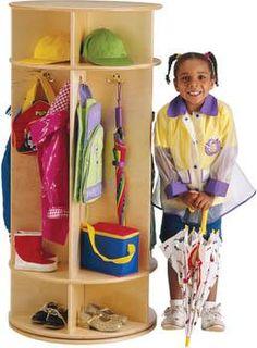 $317 Revolving Coat Locker   --Entry closet idea for kids