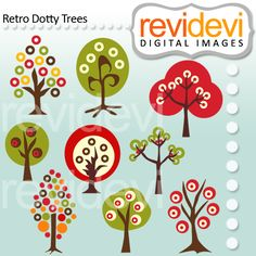 Retro Dotty Trees - retro colors for your craft and creative projects.