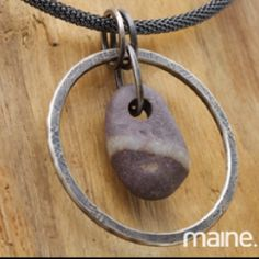 Maine forge silver and beach stone jewelry , by Anita Roelz of Circle Stone Design.