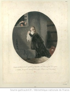 Marie Antoinette late Queen of France in the prison of the Conciergerie at Paris : during the interval between her sentence and execution : [estampe] / Mad. la marquise de Brehan pinxit ; C. Venzo sculpsit    Author : Venzo, C. (17..-18.. ; graveur). Graveur    Author : Millet de Bréhan, Anne Flore (1752?-18..). Dessinateur du modèle    Publisher : [s.n.] (London ?)    Date of publication : 1796