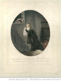 Marie Antoinette late Queen of France in the prison of the Conciergerie at Paris : during the interval between her sentence and execution : [estampe] / Mad. la marquise de Brehan pinxit ; C. Venzo sculpsit    Author : Venzo, C. (17..-18.. ; graveur). Graveur    Author : Millet de Bréhan, Anne Flore (1752?-18..). Dessinateur du modèle    Publisher : [s.n.] (London ?)    Date of publication : 1796