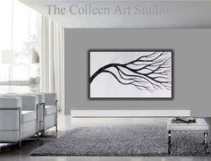 Modern black and white tree painting  The Colleen Art Studio  www.thecolleenartstudio.com