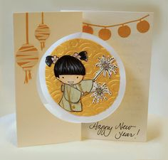 handmade new year card adorable little girl image from sister stamps
