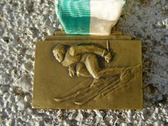 Ski medal from local Swiss ski club 1947 by BrockiStop on Etsy