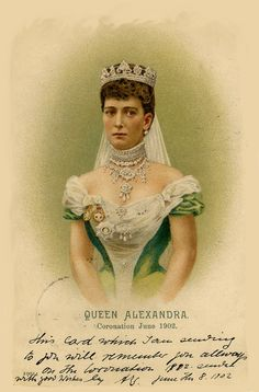 This card, perhaps based on Alexandra's 1896 photo, was issued to commemorate her coronation in Queen Victoria Family, Queen Victoria Prince Albert, Victoria Reign, Victoria And Albert, Princess Alexandra Of Denmark, English Royalty, Antique Illustration, Royal Jewelry, Victorian Art