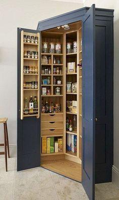 31 Ideas For Kitchen Corner Pantry Cabinet Closet Kitchen Pantry Design, Kitchen Pantry Cabinets, Diy Kitchen, Kitchen Storage, Bathroom Storage, Kitchen Decor, Storage Cabinets, Kitchen Ideas, Kitchen Shelves